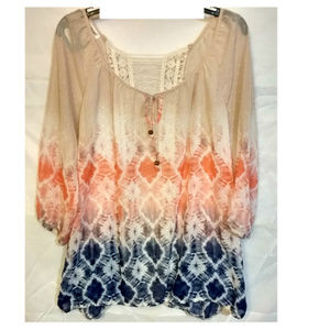 Maurices Tie Dye Sheer Boho Blouse Sz 14/16